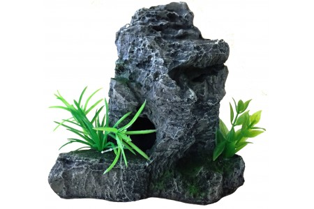 Rock with plants XL aquarium decoration