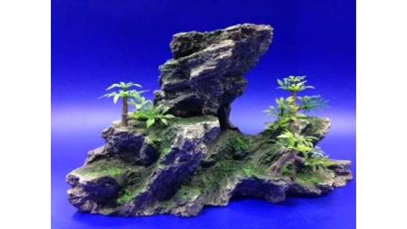 Изкуствена декорация - Скала с растения