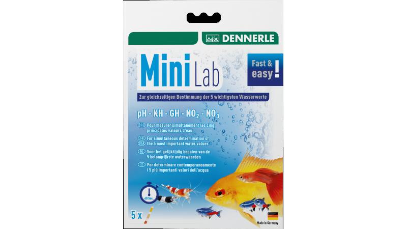 60-секунден тест за сладководни аквариуми Dennerle Mini lab aquaria PH • KH • GH • Nitrite • Nitrata