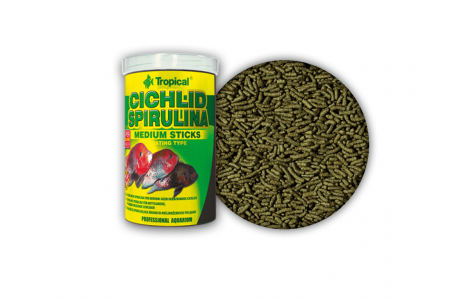 Основна растителна храна за цихлиди Tropical Cichlid Spirulina Medium Sticks 250мл. / 90гр.